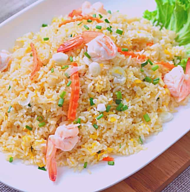 low fodmap shrimp stir-fried rice